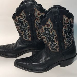 Justin boots 10 M women's cowboy black embroidered